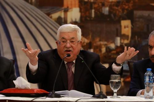 O presidente palestino, Mahmoud Abbas, dá entrevista coletiva sobre o chamado plano de paz de Trump em Ramallah, Cisjordânia, em 28 de janeiro de 2020 [Issam Rimawi / Agencia Anadolu]