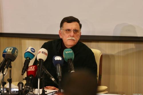 Fayez al-Sarraj, Presidente do Conselho Presidencial de O Governo de Acordo Nacional da Líbia (GNA) em uma coletiva de imprensa em Trípoli, Líbia, em 15 de fevereiro de 2020 [Hazem Turkia / Agência Anadolu]