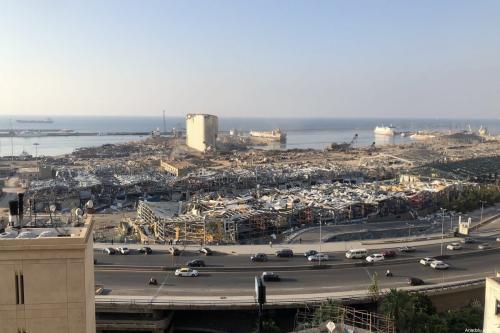 Uma vista do Porto de Beirute após um incêndio em um armazém, em 4 de agosto de 2020, que levou a grandes explosões Beirute, Líbano, em 13 de agosto de 2020. [Aysu Biçer/Agência Anadolu]
