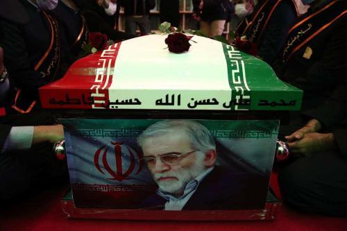 Uma cerimônia fúnebre para o cientista nuclear iraniano, Mohsen Fakhrizadeh Mahabadi, realizada em Teerã, Irã, em 30 de novembro de 2020 [Iranian Defense Ministry/Anadolu Agency]