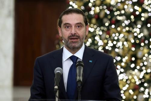 O primeiro-ministro designado do Líbano, Saad al-Hariri, durante uma coletiva de imprensa em Beirute, Líbano em 9 de dezembro de 2020 [Presidência Libanesa / Agência Anadolu]