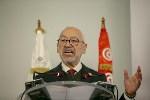 Rached Ghannouchi, presidente do Parlamento da Tunísia e líder do movimento Ennahda, durante painel em Túnis, 12 de janeiro de 2021 [Yassine Gaidi/Agência Anadolu]