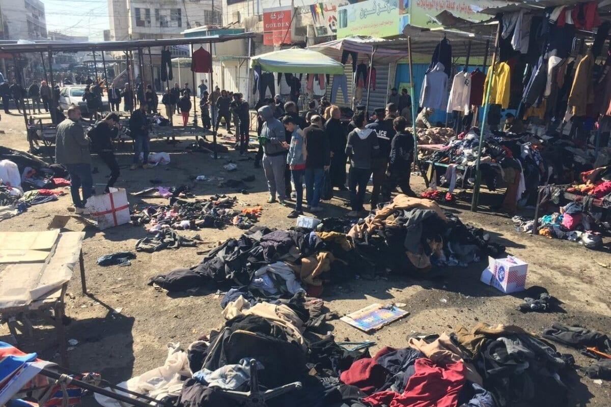 Uma visão do local da explosão após um atentado suicida na Praça al-Tayaran em Bagdá, Iraque em 21 de janeiro de 2021 [Murtadha Al-Sudani - Agência Anadolu]