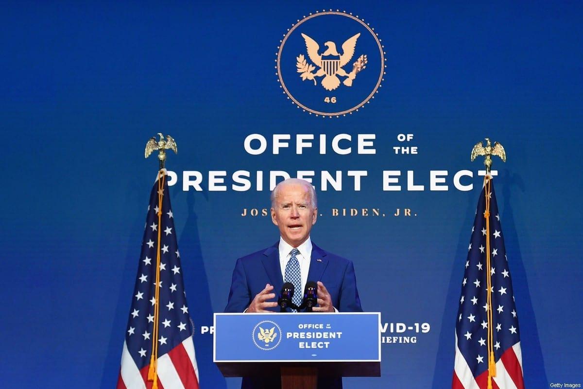 Presidente dos Estados Unidos Joe Biden em Wilmington, Delaware, 9 de novembro de 2020 [Angela Weiss/AFP/Getty Images]
