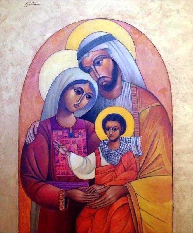 Jesus Cristo, obra de arte do artista palestino Sliman Mansour