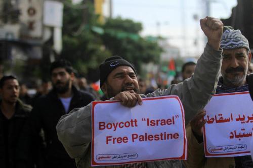 Palestinos protestam contra o acordo do século, na Cidade de Gaza, em 12 de janeiro de 2019. [Mahmoud Ajjour/ApaImages]