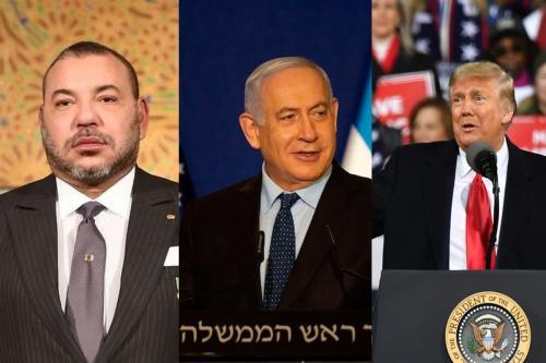 O rei marroquino Mohammed VI (à esquerda), primeiro-ministro israelense Netanyahu (ao centro) e presidente dos EUA Donald Trump (R) concordaram em normalizar as relações [COP22/Twitter] [MAYA ALLERUZZO/POOL/AFP via Getty Images] [Peter Zay - Agência Anadolu]