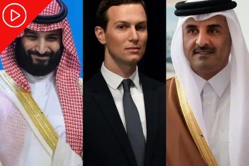 O príncipe herdeiro da Arábia Saudita, Mohammed Bin Salman,o assessor sênior da Casa Branca Jared Kushner e o Emir do Catar Tamim bin Hamad al-Thani