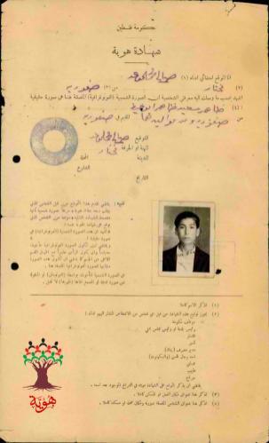 Uma carteira de identidade de um cidadão palestino emitida pelo governo palestino - um exemplo de dezenas de documentos que foram entregues a famílias palestinas. [Hawiyyah Foundation Archive]