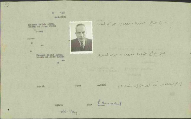 Os papéis de Hassan Saleh Kaddoura, encontrados no arquivo da comunidade palestina no Chile e nos arquivos israelenses, comprovam que ele se mudou do Chile para a Argentina e exigia seu retorno à Palestina e a restauração da nacionalidade palestina. [Hawiyyah Foundation Archive]