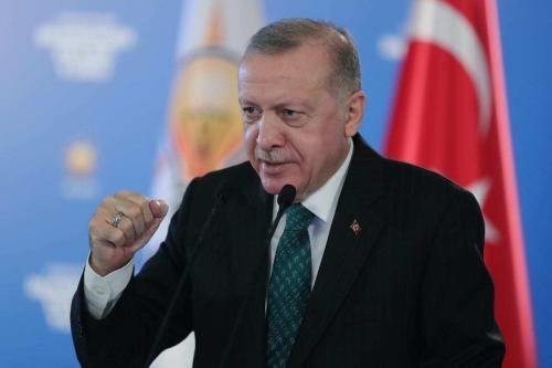 Presidente da Turquia Recep Tayyip Erdogan participa por videoconferência de congressos provinciais de seu partido, em Ancara, Turquia, 3 de fevereiro de 2021 [Mustafa Kamacı/Agência Anadolu]