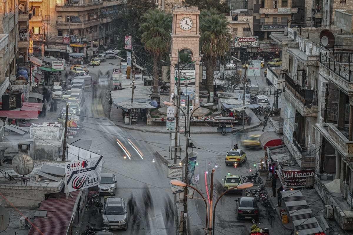 Uma vista do centro da cidade de Idlib na Síria em 15 de fevereiro de 2021. [Muhammed Said - Agência Anadolu]