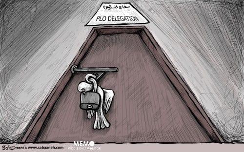 Delegação da OLP – Cartoon [Sabaaneh/Monitor do Oriente Médio]