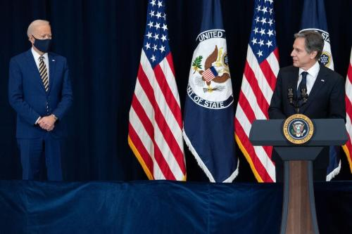 Secretário de Estado dos Estados Unidos Antony Blinken durante a primeira visita do Presidente Joe Biden ao seu departamento, em Washington DC, 4 de fevereiro de 2021 [Saul Loeb/AFP/Getty Images]