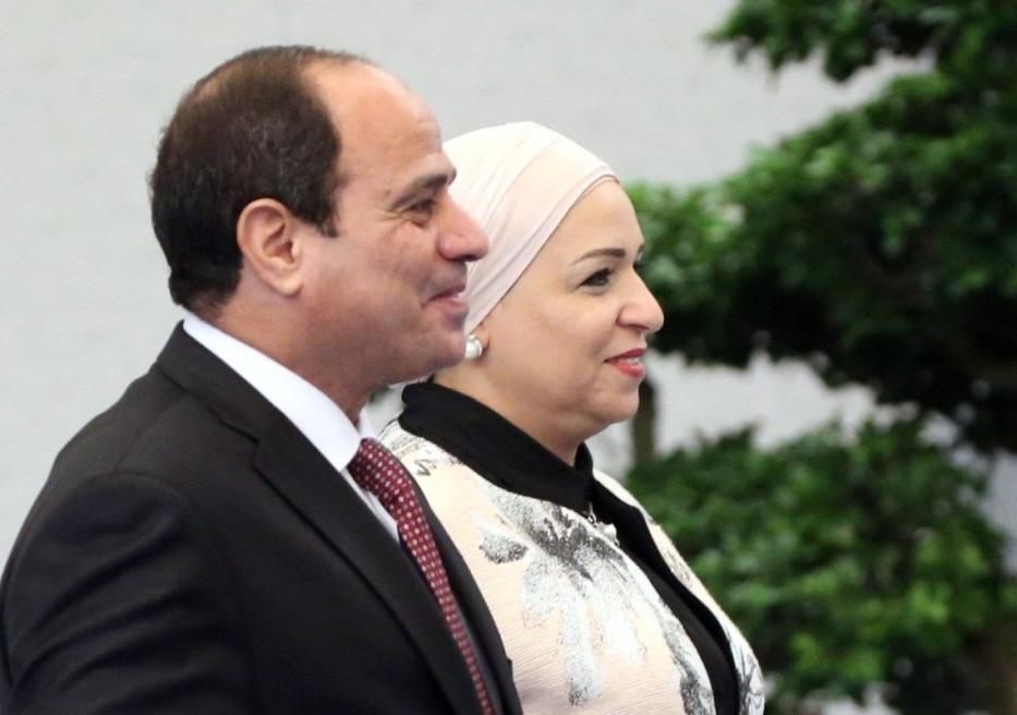 O presidente egípcio Abdel Fattal el-Sisi (esq.) e sua esposa Entissar Amer (dir.) chegam para o jantar em 4 de setembro de 2017 em Xiamen, China. [Mikhail Svetlov / Getty Images]