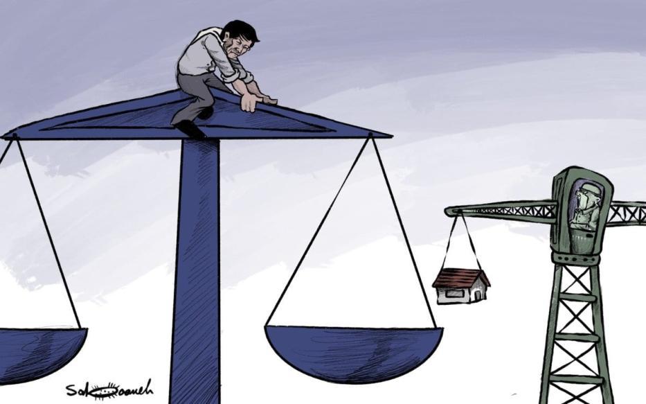 Decisão do TPI traz esperança para a Palestina e preocupação para Israel - charge [Sabaaneh / Monitor do Oriente Médio]