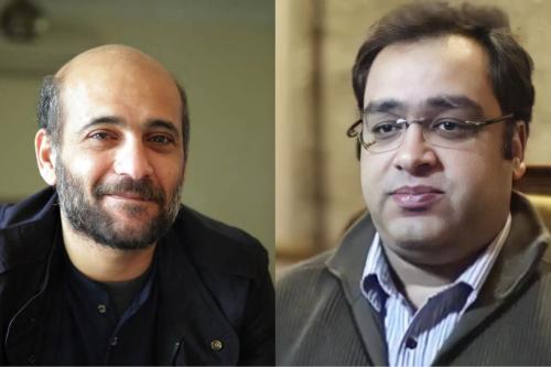 Ramy Shaath (esq.) [AmnestyAR / Twitter] e Zyad El-Elaimy (dir.). [haythamabokhal1/Twitter]