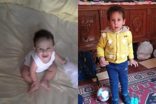 Criança detida libertada, Al-Baraa, antes (esq.) e depois (dir.) da detenção.