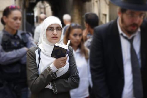 A ativista palestina Hanadi halawani, banida da mesquita de Al-Aqsa, em Al-Quds [ Arquivo pessoal]