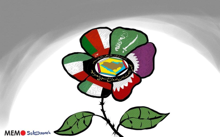O fim da disputa do Golfo - Cartoon [Sabaaneh / Monitor do Oriente Mèdio]