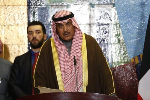 O então ministro das Relações Exteriores do Kuwait, Sabah Al-Khalid Al-Sabah, em uma coletiva de imprensa, em 28 de dezembro de 2016. [Murtadha Sudani/Anadolu Agency]