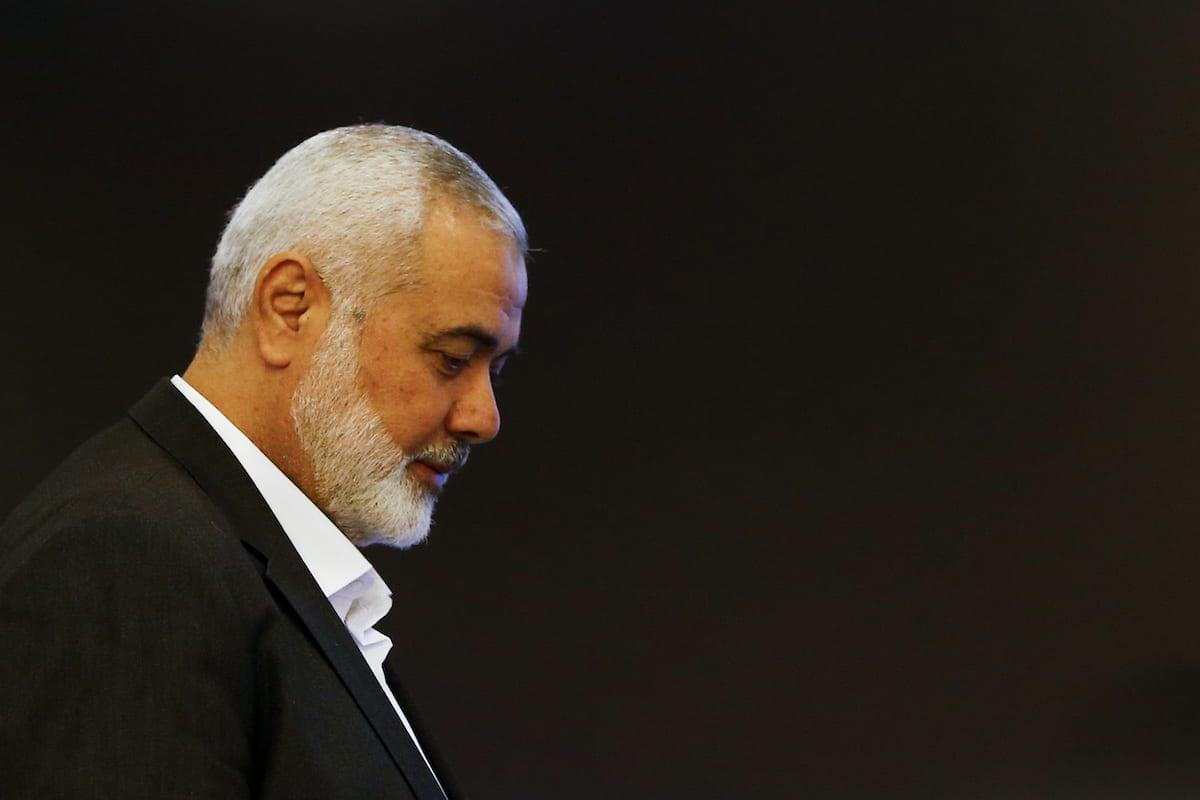 Ismail Haniyeh, chefe do Gabinete Político do Hamas, durante coletiva de imprensa em Moscou, Rússia, 4 de março de 2020 [Sefa Karacan/Agência Anadolu]