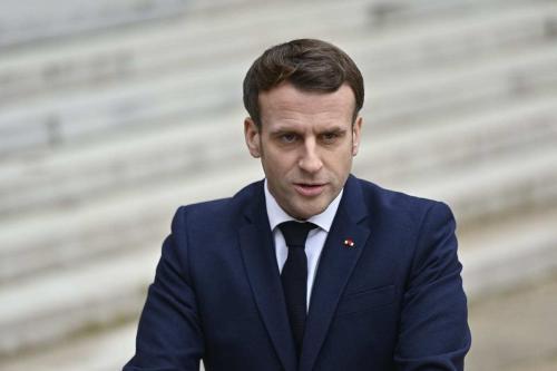 Presidente francês Emmanuel Macron visto no Palácio do Eliseu em Paris, França em 01 de fevereiro de 2021 [Julien Mattia / Agência Anadolu]