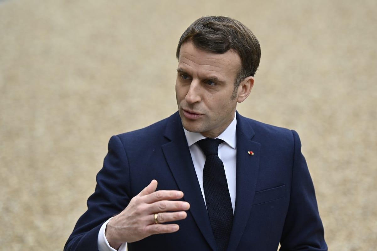 O presidente francês, Emmanuel Macron, em Paris, França, em 1 de fevereiro de 2021. [Julien Mattia/Anadolu Agency]