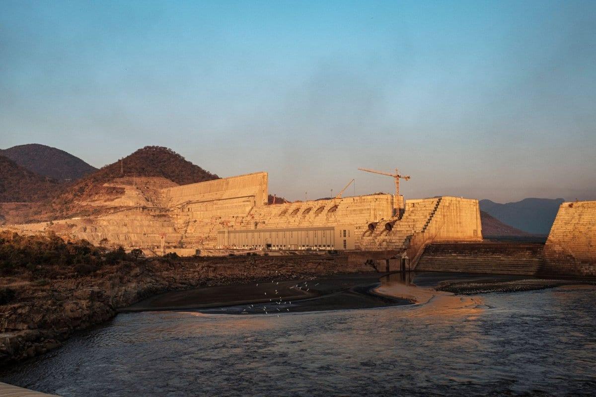 Grande Barragem da Renascença Etíope (GERD), perto de Guba, na Etiópia, em 26 de dezembro de 2019 [Eduardo Soteras/ AFP via Getty Images]