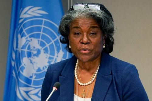 Linda Thomas-Greenfield, embaixadora dos Estados Unidos na ONU e presidente do Conselho de Segurança, durante coletiva de imprensa em Nova York, 1° de março de 2021 [Timothy A. Clary/AFP via Getty Images]