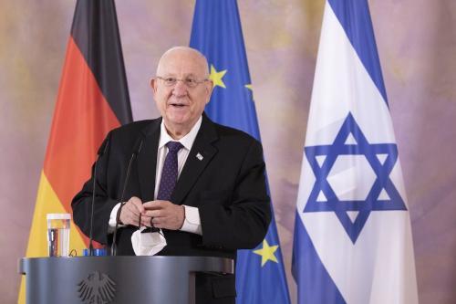 Presidente de Israel Reuven Rivlin durante coletiva de imprensa, ao lado do Presidente da Alemanha Frank-Walter Steinmeier (não visto), no Palácio Presidencial Bellevue, em Berlim, 16 de março de 2021 [Maja Hitij/Getty Images]