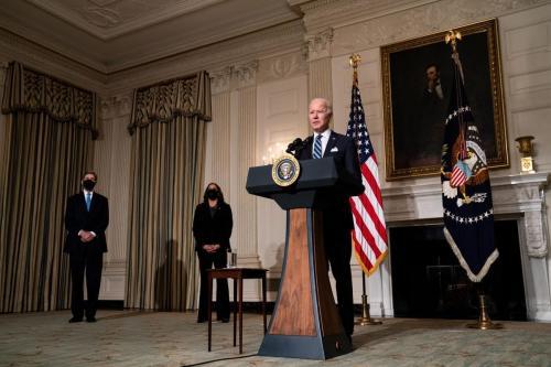 O presidente dos EUA, Joe Biden, em 27 de janeiro de 2021, em Washington, DC. [Anna Moneymaker-Pool/Getty Images]