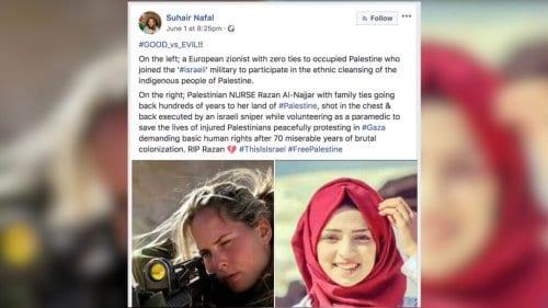 Suhair Nafal foi banida por publicar essa postagem no Facebook.
