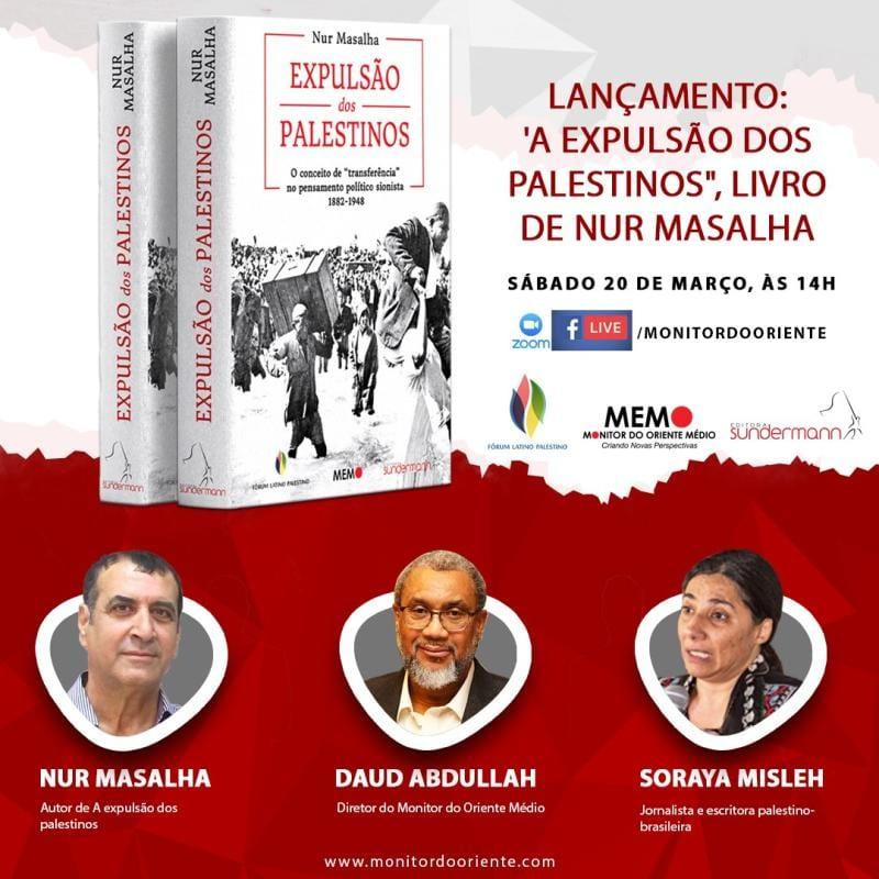 Debate sobre o livro A expulsão dos palestinos, de Nur Masalha, lançamento do Monitor do Oriente Mèdio (MEMO), Fórum Latino-Palestino e Editora Sundermann