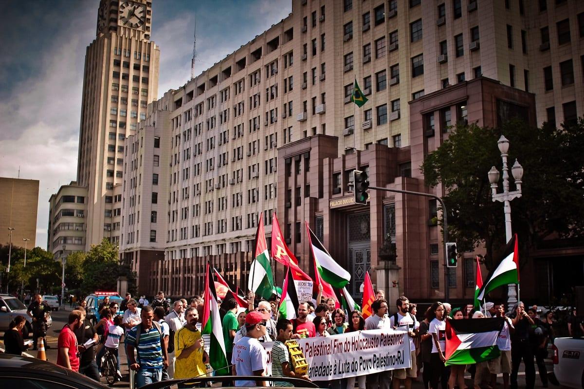 Ato no Rio de Janeiro em solidariedade à Palestina, em julho de 2014 [Mídia Ninja]