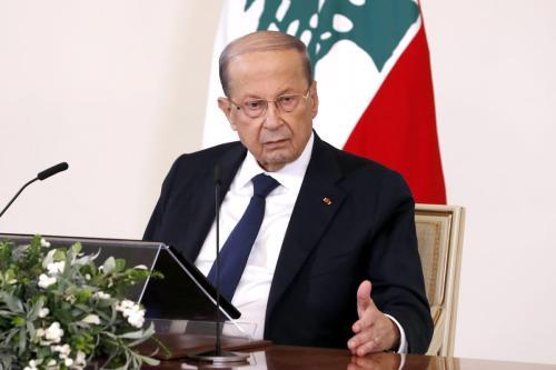 Presidente libanês, Michel Aoun, em Beirute, Líbano, em 21 de outubro de 2020. [Presidência libanesa/Agência Anadolu]