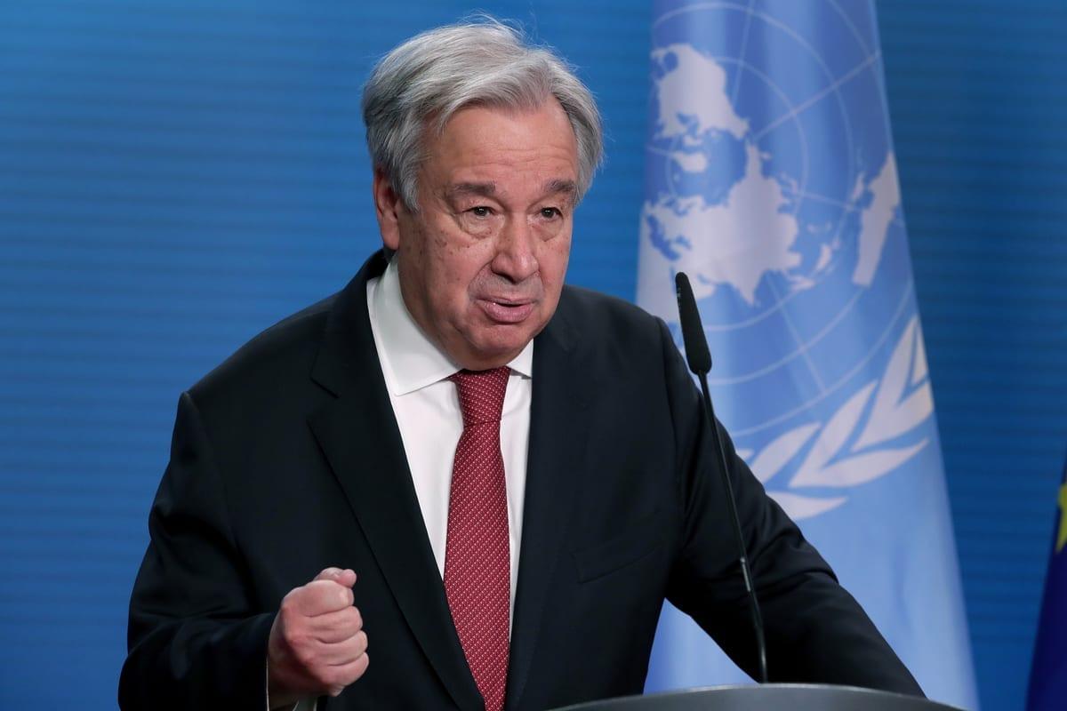 Secretário da ONU -Geral Antonio Guterres em Berlim, Alemanha, em 17 de dezembro de 2020 [Michael Sohn / AP Photo/ / Agência Anadolu]