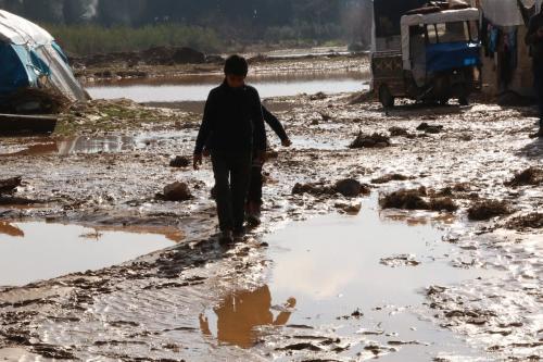 Campo de refugiados após enchentes na província de Afrin, noroeste da Síria, 31 de janeiro de 2021 [Muhammed Abdullah/Agência Anadolu]