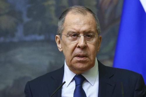 Ministro das Relações Exteriores da Rússia, Sergey Lavrov, em Moscou, Rússia, em 2 de março de 2021 [Ministério das Relações Exteriores da Rússia / Agência Anadolu]