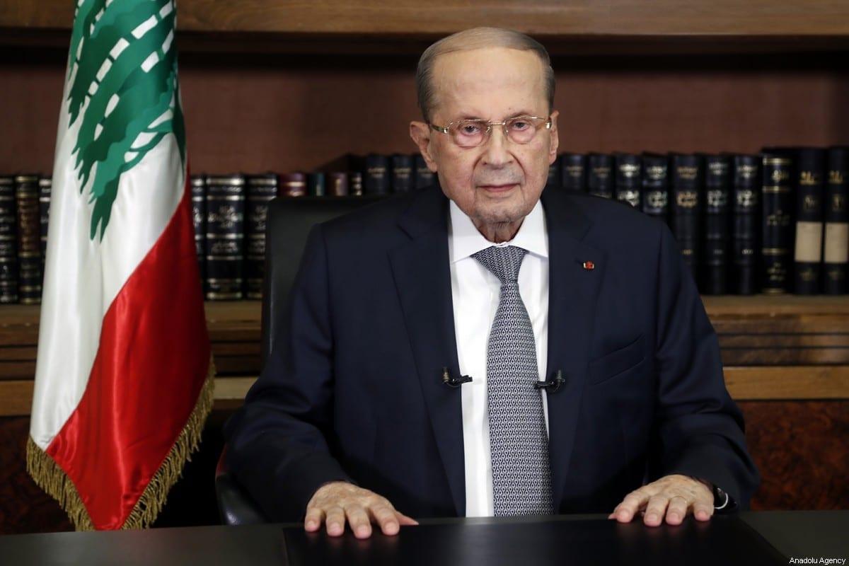 O presidente libanês, Micheal Aoun, em Beirute, Líbano, em 17 de março de 2021. [Presidência libanesa/Agência Anadolu]