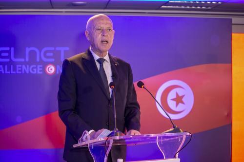 O presidente da Tunísia, Kais Saied, durante cerimônia em Túnis, Tunísia, em 22 de março de 2021 [Agência Yassine Gaidi / Anadolu]