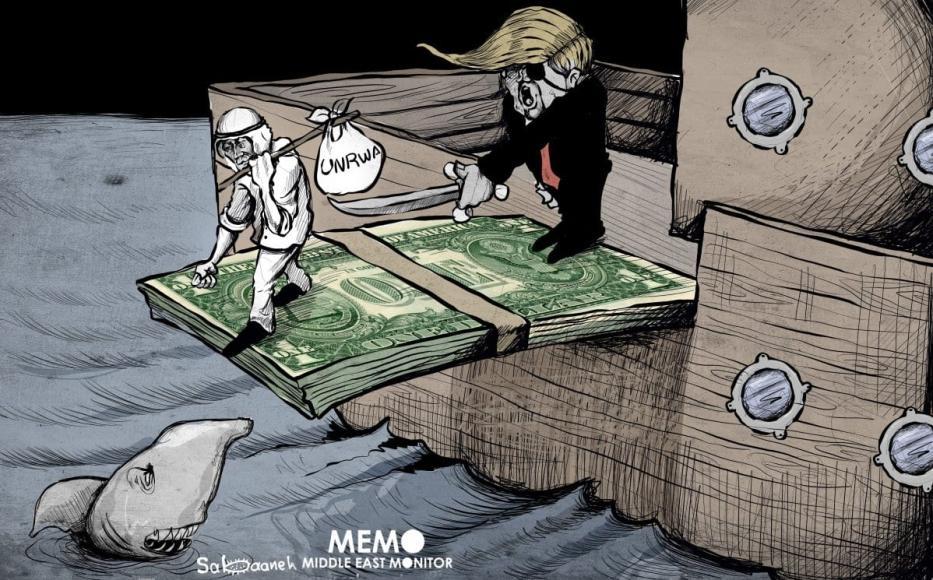 Decisão dos EUA de cortar o financiamento da UNRWA. [Sabaaneh/Monitor do Oriente Médio]