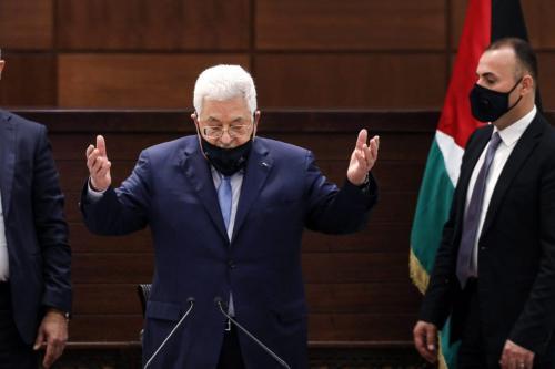 O presidente da AP, Mahmud Abbas, em Ramallah, na Cisjordânia, em 3 de setembro de 2020 [Alaa Badarneh/POOL/AFP via Getty Images]