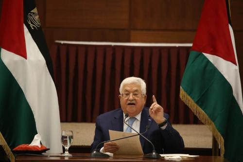 Presidente da Autoridade Palestina Mahmoud Abbas em Ramallah, Cisjordânia ocupada, 20 de maio de 2020 [Issam Rimawi/Agência Anadolu]