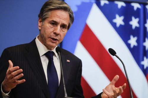 Secretário de Estado dos EUA, Antony Blinken, em Bruxelas, Bélgica, 24 de março de 2021. [Olivier Hoslet/Agência Anadolu]