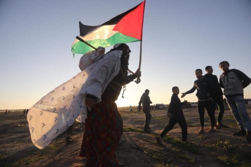 Palestina na 'Grande Marcha do Retorno'. Em 20 de dezembro de 2020 [Mohammed Asad/ Monitor do Oriente Médio]