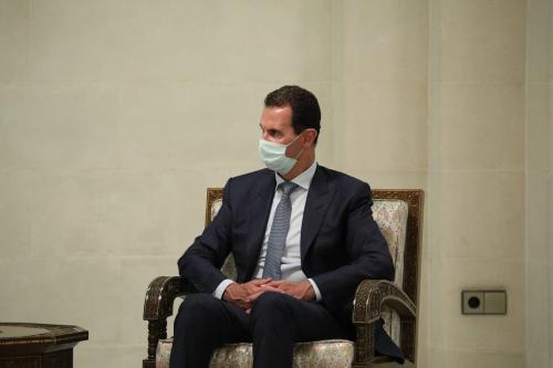 O presidente sírio, Bashar Al-Assad, em Damasco, Síria, em 7 de setembro de 2020 [Ministério das Relações Exteriores da Rússia/Agência Anadolu]
