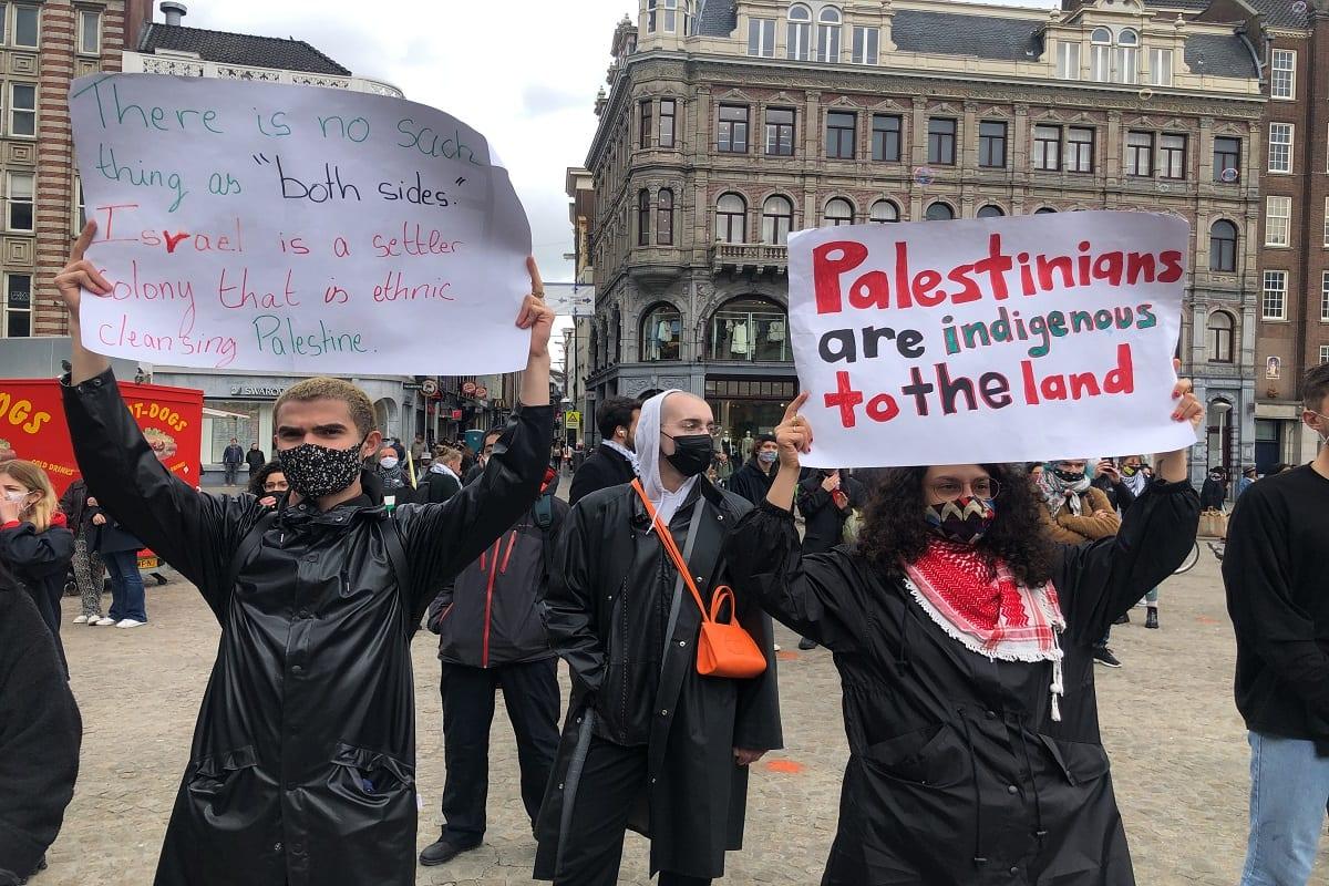 De uma manifestação em apoio aos palestinos na Holanda, 22 de maio de 2021 [agência Selman Aksünger / Anadolu]