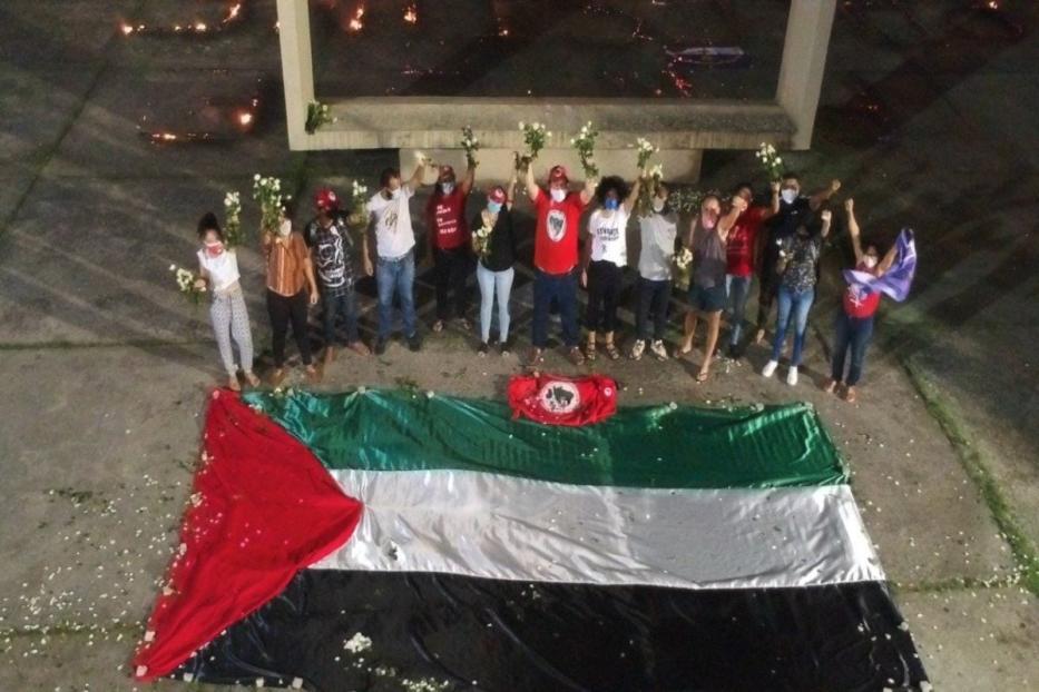 Ato em solidariedade ao povo palestino em frente ao monumento Tortura Nunca Mais, em Recife, Pernambuco, dia 24 de maio de 2021 [MST]