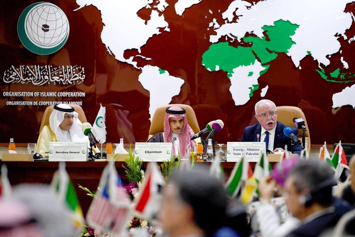 O ministro estrangeiro palestino Riyad al-Maliki (dir.) discursa durante uma reunião da Organização de Cooperação Islâmica, em Jeddah, em 3 de fevereiro de 2020 [Amer Hilabi/AFP via Getty Images]